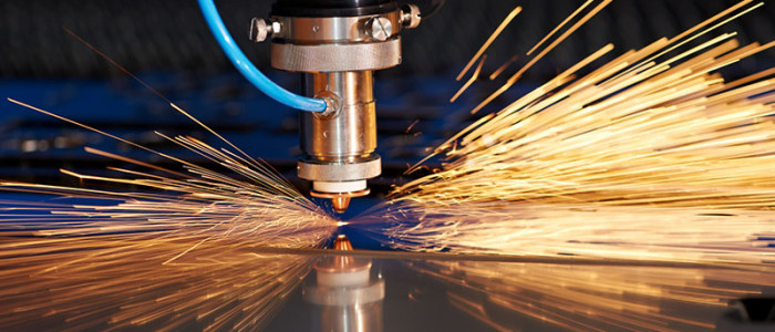 Industrial Laser cutting processing manufacture technology of flat sheet metal steel material with sparks