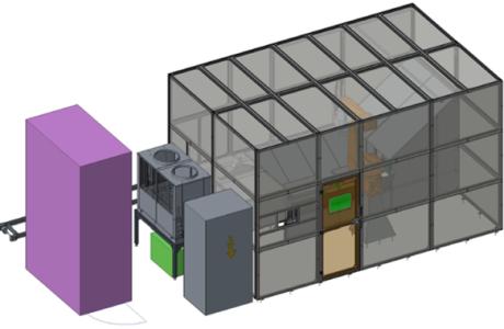 Robotická laserová buňka pro čistění jigů v online lakovně